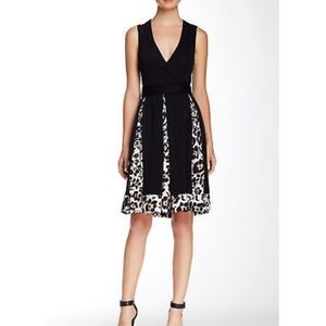 DVF Leopard Print Trim Black Wrap Dress